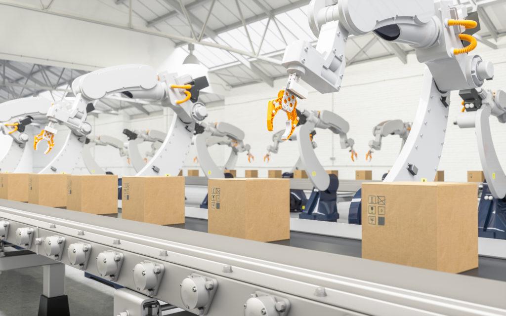 Robotteja tehtaassa, industry 4.0 muutos on tulossa